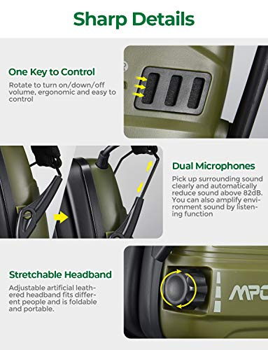 Mpow Electronic Shooting Earmuffs, Rechargeable Ear muffs 30Hrs Playtime, SNR 26dB Ear Muffs Noise Reduction Sound Amplification, Hearing Protection for Shooting, Hunting, Mowing, Woodworking- Green