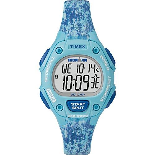 Timex Women's TW5M16200 Ironman Classic 30 Mid-Size Blue Dye Pattern Resin Strap - Digital Pattern