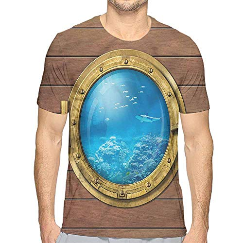 t Shirt for Men Shark,Submarine Chamber Window Custom t Shirt S]()