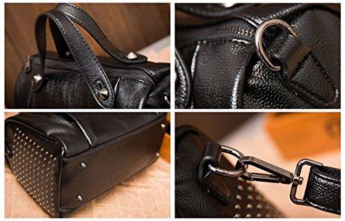Studded Lady bag Style Leather Genuine Boston Satchel amp;Sue Red Mn Top Doctor Barrel Purse Handle Women's Rivet qPc4cXZw