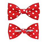 Boys Red With White Polka Dots Clip On Bow Tie