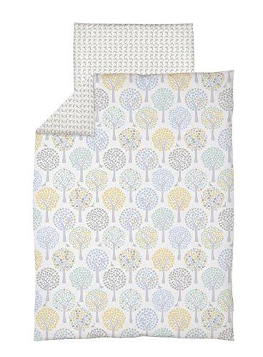 Babybettwäsche | Bettwäsche-Set 2-teilig | 100% Baumwolle | Bettdeckenbezug 100x135cm | Kopfkissenbezug 40x60 | Design: Magischer Wald blau Ceba baby