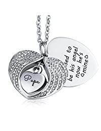 KnSam I Used to be his Angel Now He's Mine Urn Necklace Ash Cremation Pendant Heart Wings Family Silver