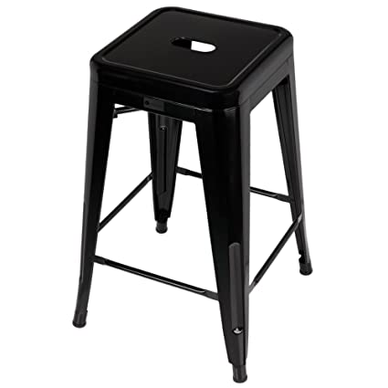 Genial Homegear 4 Pack Stackable Metal Kitchen Stools / Chairs (Black)