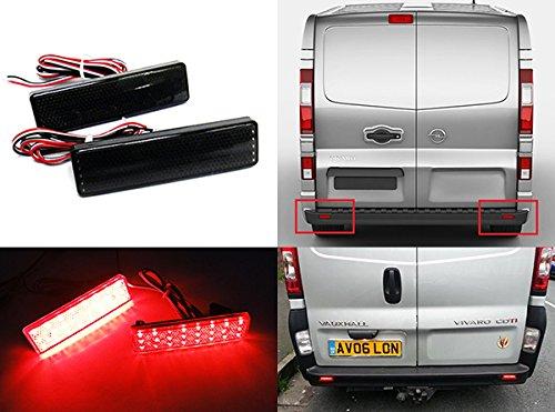 2x Black Smoked Lens Rear Bumper Reflector LED Fog Tail Stop Brake Light For Vivaro Movano Master Trafic Primastar
