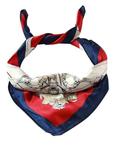 Women Square Scarf Ladies Silk Satin Neck Chiffon Polyester Neckerchiefs Small Size (White Chain)