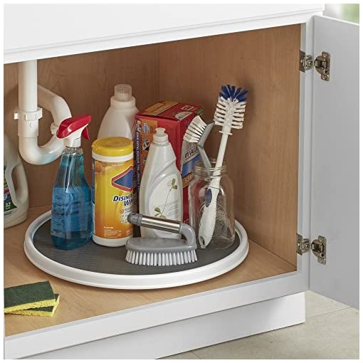 Kitchen Copco 255-0186 Non-Skid Pantry Cabinet Lazy Susan Turntable, 18-Inch, White/Gray – 2555-0186 lazy susans