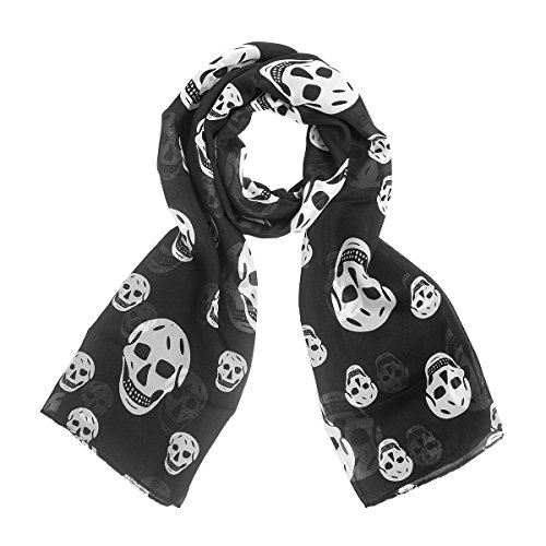 Chikamika Skull Scarves Women Skulls Scarf Lightweight Fashion Skull Wraps (Black/White)