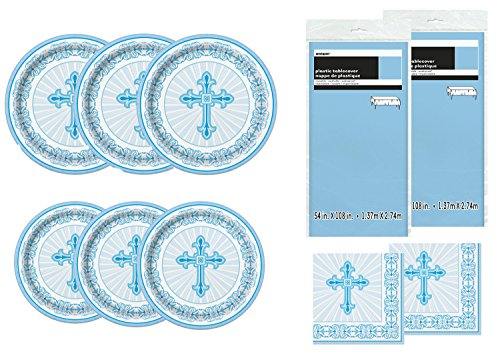 Unique Party Supplies Radiant Cross Blue Religious Deluxe Bundle for 24 Plate Napkins & Tablecovers for $<!--$22.91-->