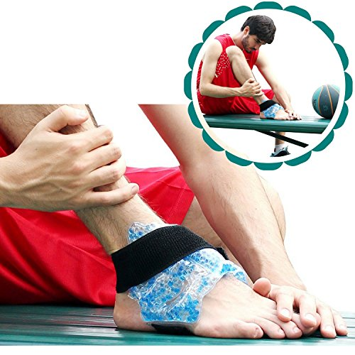 Hot Cold Therapy Gel Bead Ice Wrap for Foot, Ankle, Elbow by FOMI Care | Moldable, Reusable, Freezable, Microwaveable |  Strap Holds Cold Compress | Pain Relief for Sprains, Bruises, Injuries (Foot Wraps Soothing)