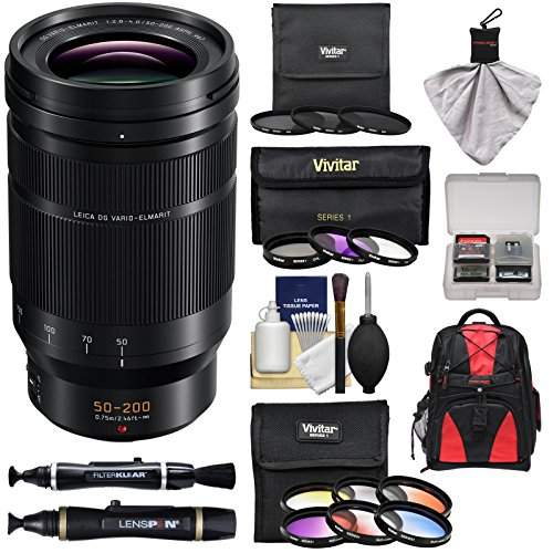 Panasonic Lumix G Leica DC Vario-Elmarit 50-200mm f/2.8-4.0 ASPH Power OIS Zoom Lens + 12 UV/FLD/CPL/ND & Color Filters + Backpack Kit (Panasonic Nd Filter)