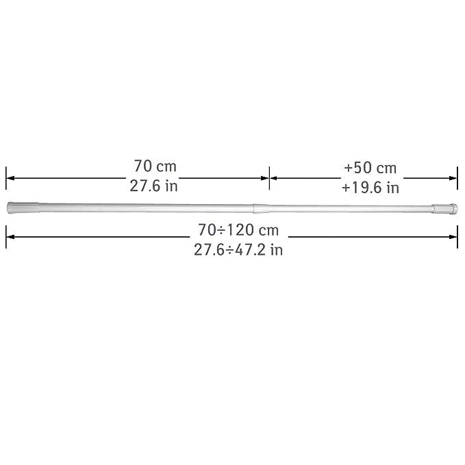 /Ø1.9//2.2 cm Aluminium 120 cm Tatkraft Thorin Teleskop-Duschvorhangstange 70 Edelstahl