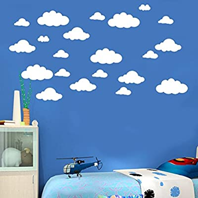 """31pcs / set Wall Decals, DIY Large Clouds 4-10"""" Wall Sticker Removable Vinyl Children's Room Home Decoration Art"""