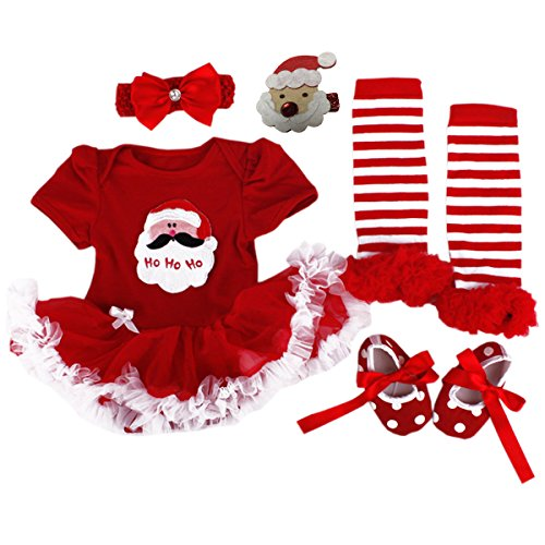 [TANZKY Baby Girls' Christmas Onesie Santa Costume Outfits Tutu Dress 5PCs US 12M] (Cute Santa Outfits)