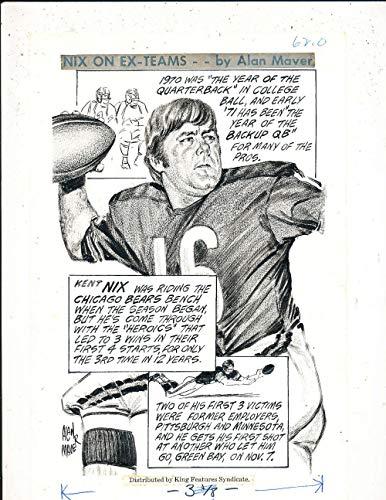 1971 Kent Nix Chicago Bears original art by Alan Maver 7.5 x 10