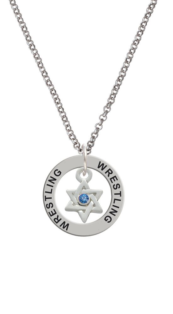 Mini Star of David with Blue Crystal - Wrestling Affirmation Ring Necklace
