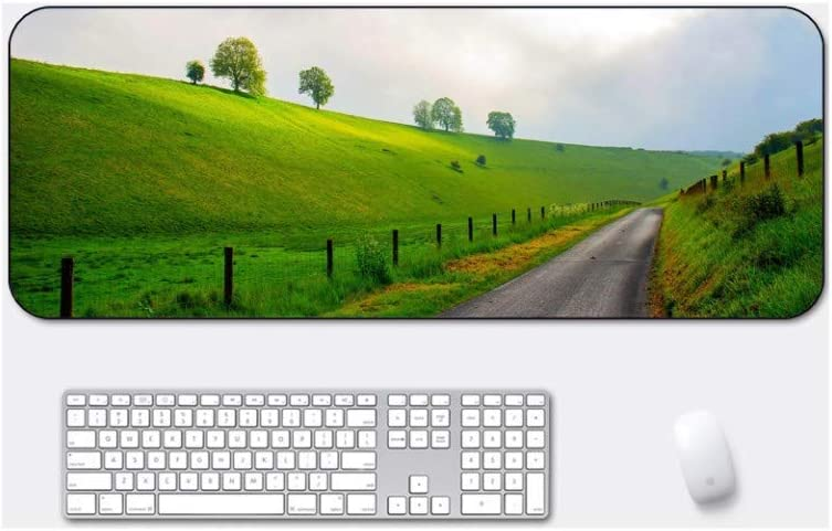 Grassland Path Style Desk Pad Suitable for Desktop Computer//Notebook,1000x500mmx5mm Large Padded Waterproof Non-Slip Keyboard Pad Mouse Pad