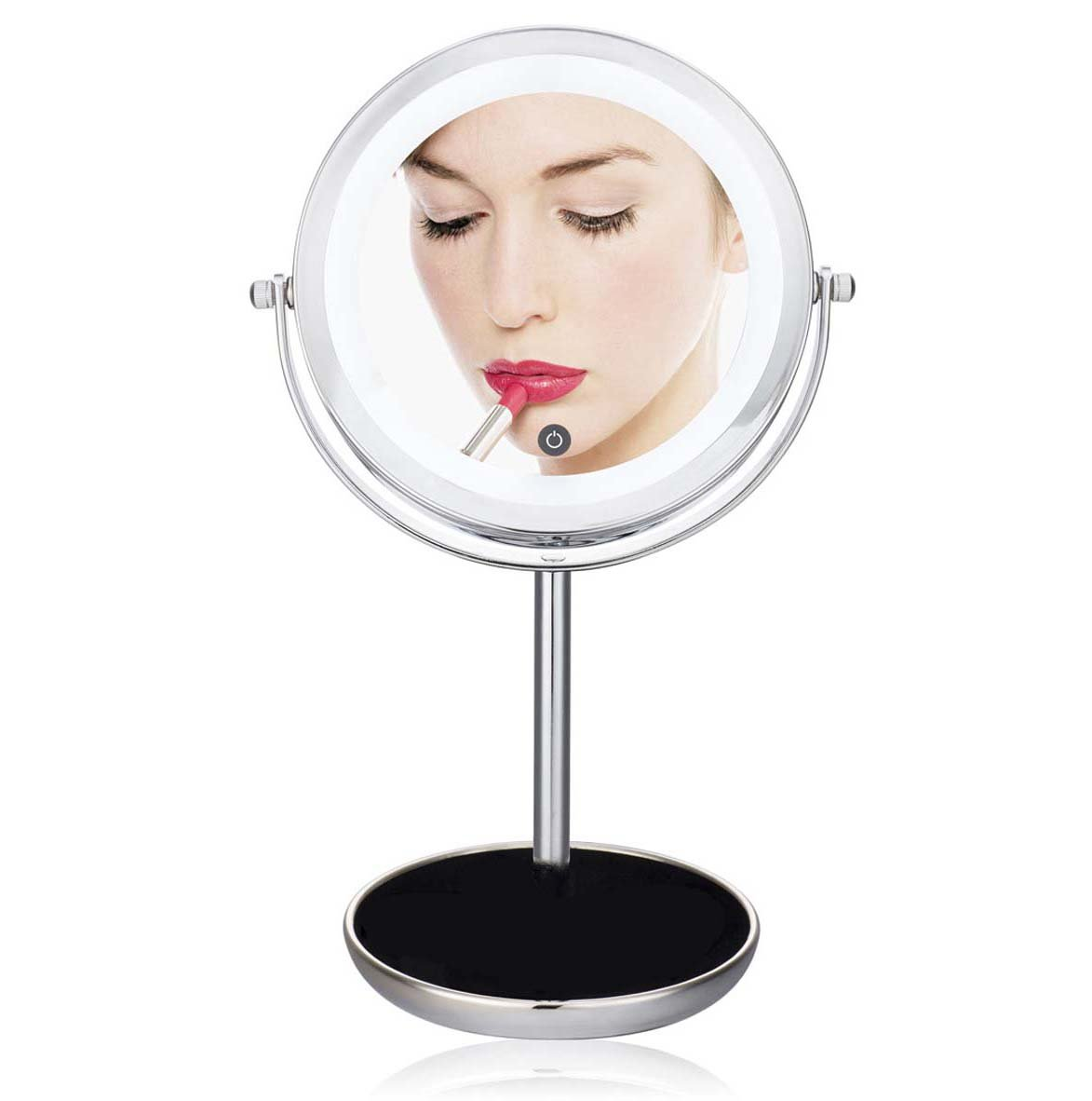 J&A Touch-Sensitive Led Desktop Double-Sided Cosmetic Shaving Mirror, Adjustable Brightness 5 Times Magnification Smart Touch Mirror, 360-Degree Rotating Portable Portable Makeup Mirror Storage