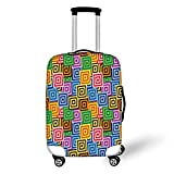 Travel Luggage Cover Suitcase Protector,Modern Decor,Ethnic Africa Tribal Geometric Mosaic Like Design Colorful Vivid Lines Artwork,Multicolor,for Travel