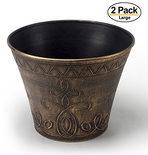 Large Fancy Decorative Planter (2 Pack) Rustic French Country Look Flowerpot Nursery Pot for Indoor, Outdoor, Garden, Patio, Office, Home Decor Use. Long Lasting, Reusable Light Weight (French Planter)