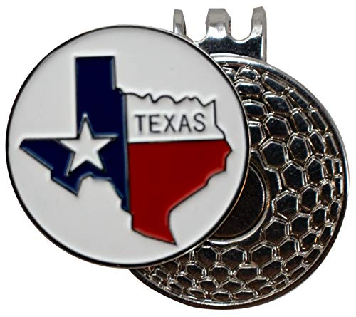DA VINCI Magnetic Golf Hat Clip with One Inch Embossed Metal Golf Ball Marker (Map of Texas)