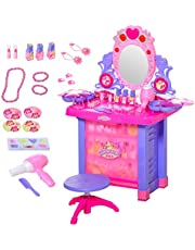 Qaba Kids Vanity Table & Stool Pretend Playset Dressing Table Set with Mirror Light Sound Working Hair Dryer Makeup Accessories for Toddlers Girls Age 3 Years Old