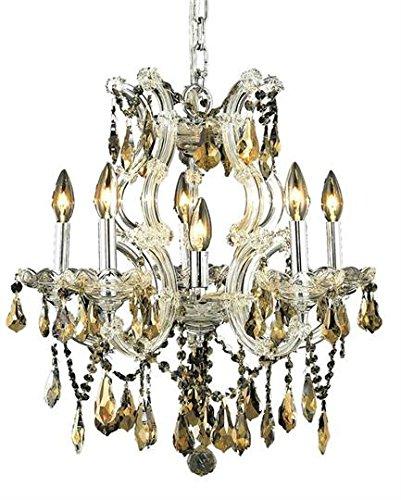 Karla Chrome Traditional 6-Light Hanging Chandelier Heirloom Handcut Crystal in Golden Teak -2381D20C-GT-RC--12