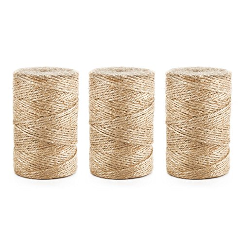 Natural Jute Twine, Segarty 3Ply Best Arts Crafts Gift Twine Christmas Twine Industrial Packing Materials Durable String for Gardening Applications, DIY Crafts and Festive Decoration, 3 Pack