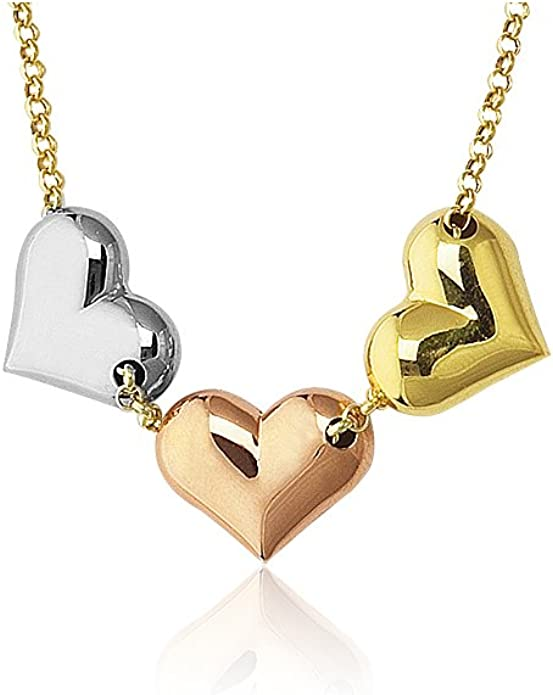 pink flower Inside 14k Two-tone Gold Hearts Charm Pendant Cut-out Heart with