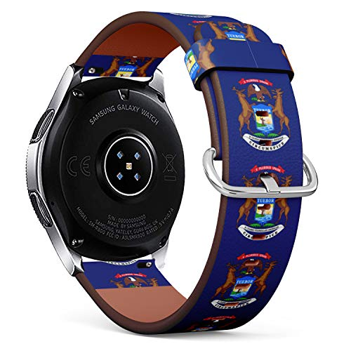 Quick Release Leather Bracelet Watch Band Strap Replacement Wristband 22mm Watch Band - State Flag of Michigan ()
