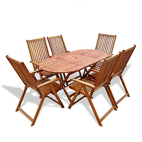 Festnight 7 Piece Wooden Outdoor Dining Set with 6 Adjustable Chairs, Natural wood (Dining Set Usually Ships)