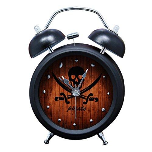 Pirates Metal Clock - Twin Bell Alarm Clock with Nightlight Pirate Skull Black 3