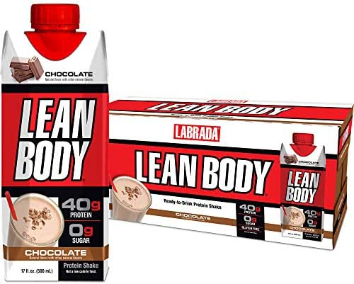 LABRADA - Lean Body Ready-to-Drink Whey Blend Chocolate Protein Shake, Convenient On-the-Go Meal Replacement Shake, 22 Vitamins & Minerals, 40 grams of Protein – 0 Sugar, Gluten Free, (Pack of 12)