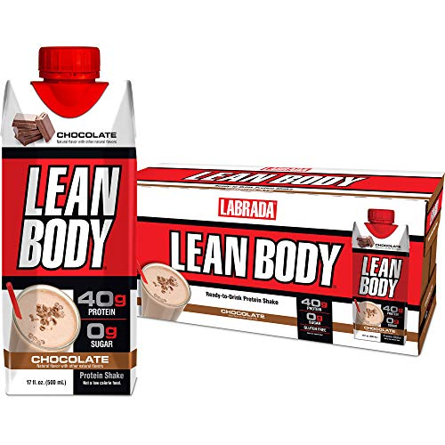 LABRADA - Lean Body Ready To Drink Whey Protein Shake, Convenient On-The-Go Meal Replacement Shake for Men & Women, 40 grams of Protein - Zero Sugar, Lactose & Gluten Free, Chocolate (Pack of 12)