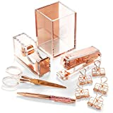 Rose Gold Desk Accessories and Office Supplies Set - 10-Piece Desk Set for Rose Gold Office, Home, Work, Writing, and Project Organizer - Comes with Cute Stapler, Pen, Scissors and Tape Dispenser
