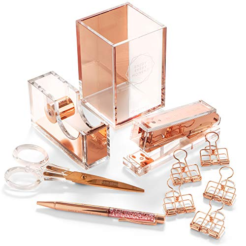 Stylish Office Desk Accessories and Supplies Kit For Women , Rose Gold - 10-Piece Desktop Accessory Set for Office, Home - Work, Writing, and Project Organizer with Copper Pen, Scissors, Stapler ()