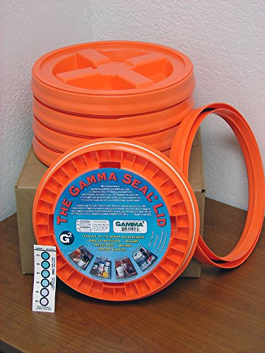 Gamma Seal Lid, Orange, 5 Pack - New! - Boxed! - 5 Gallon Bucket Lids (Fits 3.5, 5, 6, & 7 Gal.) Storage Container Lid by Gamma2