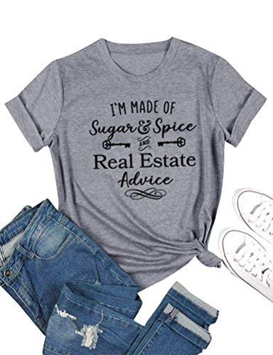 ZXH Women I'm Made of Sugar Spice and Real Estate Advice Letter T-Shirts Casual Short Sleeve Tops Grey from ZXH