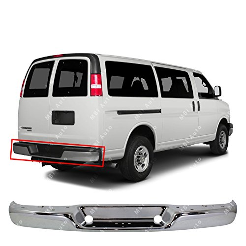 Price comparison product image MBI AUTO - Chrome Steel,  Rear Bumper Face Bar Shell for 1996-2018 Chevy Express & GMC Savana Van 96-17,  GM1102397