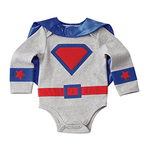 Mud Pie Baby Boys' Halloween Costume Superhero Crawler and Cape Set, Blue 9-12 MOS]()
