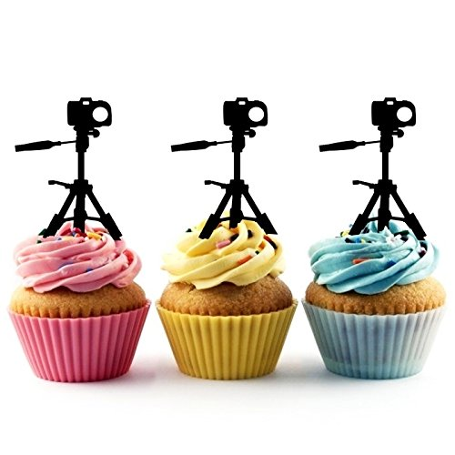 TA0453 Camera Silhouette Party Wedding Birthday Acrylic Cupcake Toppers Decor 10 pcs by jjphonecase