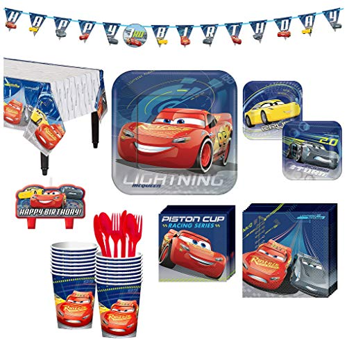 Cars 3 Birthday Party Kit, Includes Happy Birthday Banner and Birthday Candles, Serves 16, by Party -