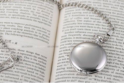 AMPM24 Vintage Silver Men's Women Ladies Quartz Pendent Pocket Watch Clock Chain Gift WPK027 by AMPM24 (Image #7)
