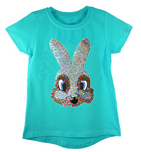 Kids Emoji Emoticons Bunny Horse Flamingo T-Shirt Tee Top Brush Changing Sequin (Bunny Sequin)