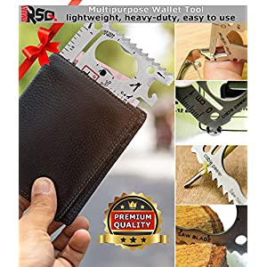 37 in 1 Wallet Multitool Card Set Gifts for Men. Best Birthday & Valentine's Day Gifts – Cool Gadgets for Men – Edc Wallet Card Multipurpose Tool – Silver Edition v2.0