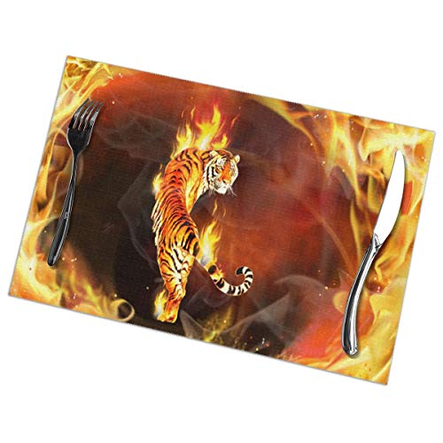 - Fire Tiger Placemats Plate Mats for Dining Table Set of 6