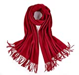 RIONA Women's 100% Merino Virgin Wool Large Scarf - Soft Warm Solid Cashmere Feel Poncho Cape(Red)