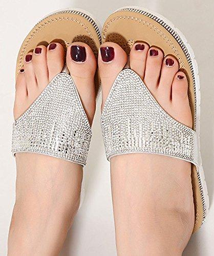 Easemax Mujeres Fashion Rhinestonet-correa Tanga Chanclas Slip On Beach Split Toe Sandalias Plata