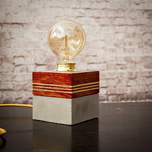 Lámpara mesa, Lámpara cemento madera, Lámpara cemento dorado ...