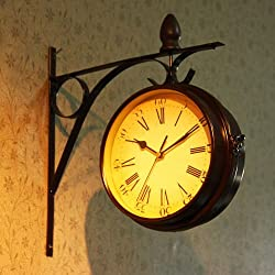 Antique Wall Clock Garden Hallway Outdoor Station Double Sided Wall Mount Clock